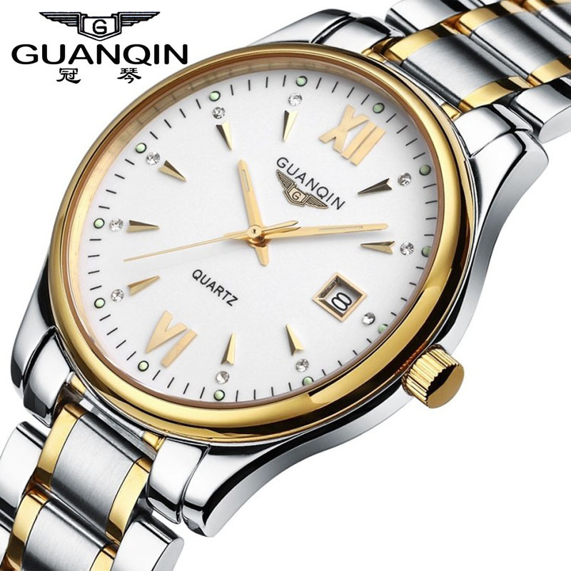 Top GUANQIN Luxury Brand Watch Full Steel Casual Watches Men Waterproof Fashion Quartz Watch Relogio Masculino Sports Wristwatch kossel pro miniature 7mm linear slide 2pcs mgn7 450mm rail 2pcs mgn7h carriage for x y z axies 3d printer parts