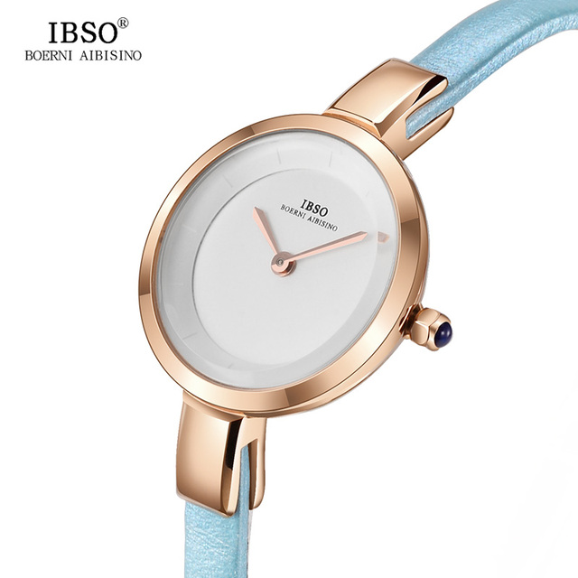 IBSO New Fashion Refined Women Watches 2018 Genuine Leather Strap Quartz Watch W