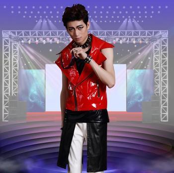 2020 summer style personality slim male oblique zipper leather vest men punk rock costumes hombre singer dance stage star