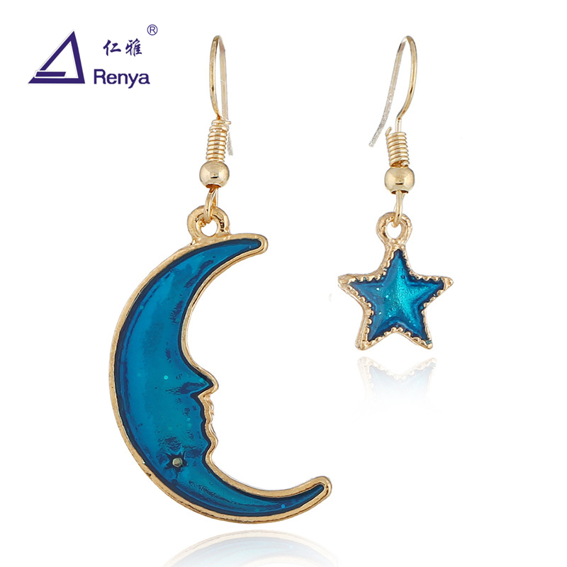 Renya Fashion Simple Moon and Star Shape Blue Epoxy Pendant Dangle Earrings Fish Hook Cute Girl Jewelery For Summer