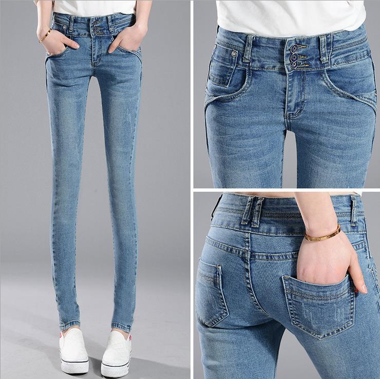 2016 New Fashion Jeans Women Pencil Pants High Waist Jeans Sexy Slim Elastic Skinny Pants Trousers Fit Lady Jeans Plus Size  2017 fashion jeans womens pencil pants high waist jeans sexy slim elastic skinny pants trousers fit ladies blue jeans plus size