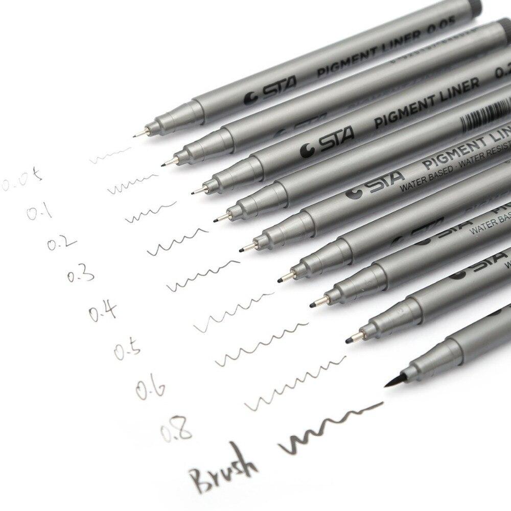 STA  Pigment Liner Pen, 0.05mm, Black Ink,  Water Ink 14cm Long