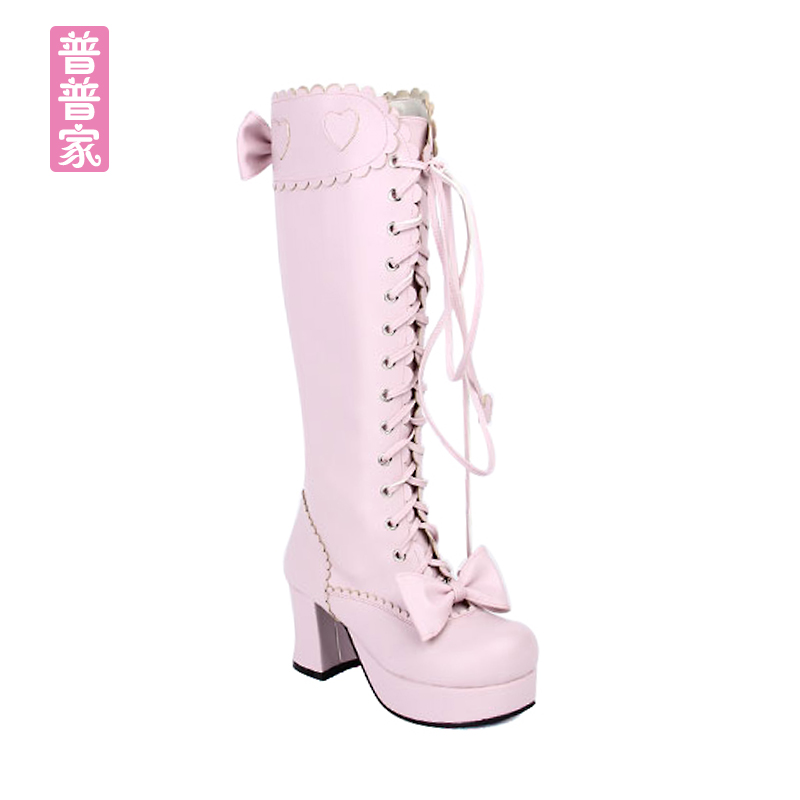 Princess sweet lolita shoes Summer and spring round head zipper bow tie super high heel tie high boots fashion women pu8019Princess sweet lolita shoes Summer and spring round head zipper bow tie super high heel tie high boots fashion women pu8019
