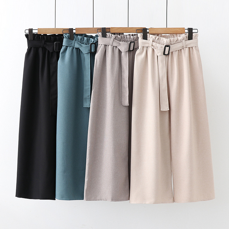Elegant High Waist   Wide     Leg     Pants   Women Belted Loose Trousers Female 2019 Summer New Hot Cotton Linen Casual   Pants