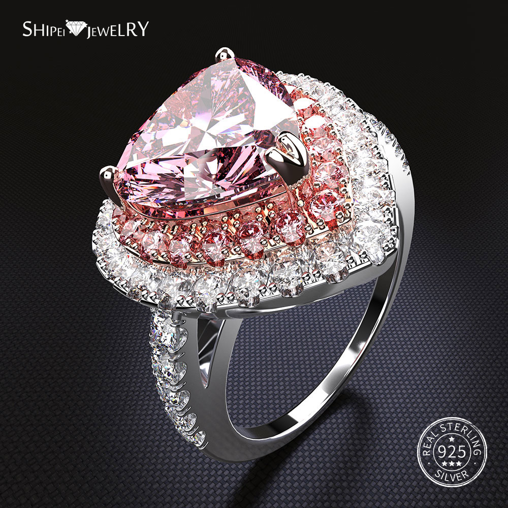 Shipei 100% 925 Sterling Silver Heart Ring Fine Jewelry Pink Sapphire Heart Engagement Wedding Ring For Women Anniversary Gift