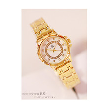 New Hot Sale Watch High-End Chain Linked List Custom Full Rhinestone Female Quartz
