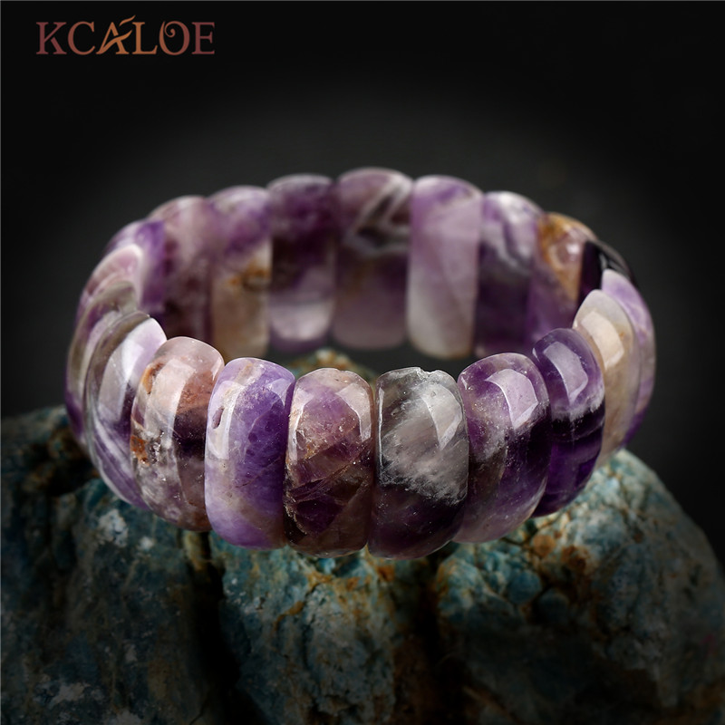KCALOE Purple Crystal Semi-Precious Stones Elastic Bracelets Bangles Pulseras Wide Natural Stone Women Charm Bracelet Jewelry