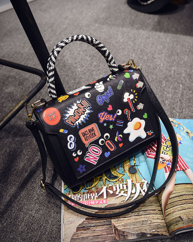 Women Bag 2017 Designer Handbags High Quality PU Leather Vintage Shoulder Bags Female Clutch Tas Cartoon Printing Bolsa Feminina