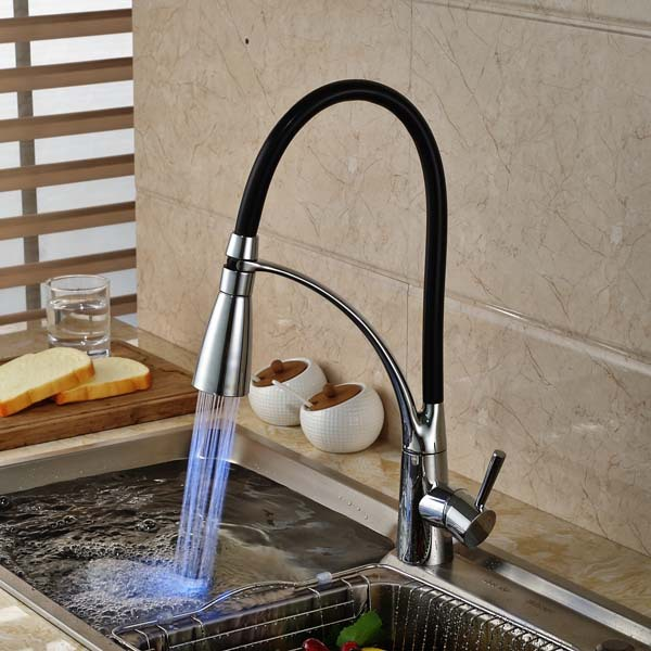 LED Color Chrome Brass Kitchen Faucet Single Handle Hole Vessel Sink Mixer Tap Swivel Spout
