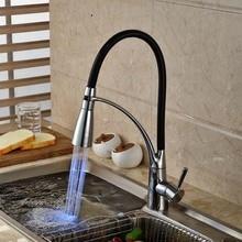 Из светодиодов цвет хром латунь кухонный кран одной ручкой отверстие сосуд раковина смеситель поворотный носик