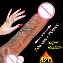 Automatic Telescopic Heating Penis Vibrator Female Masturbation Super Realistic Dildo Vibrator Erotic Sex Products Adult Toys sweet cannon machine a08 black men and women with automatic telescopic joyful masturbation adult sex products