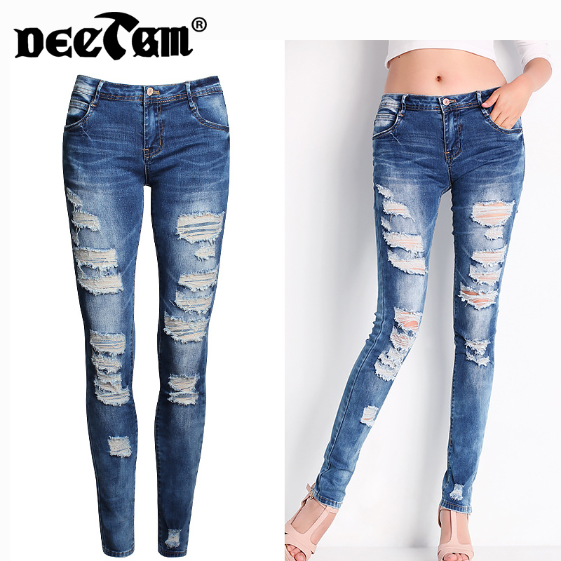 2017 Plus Size Summer Autumn New Women Jeans Hole Ripped Jeans Girls Stretch Mid Waist Skinny Jeans Female Denim Pencil Pants
