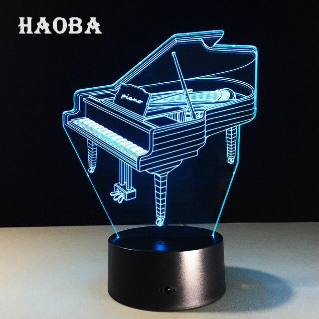 Bluetooth Speaker Music Instrument Retro Piano 3D USB LED Lamp 7 Colors  Bulb Musician Gift Elegant