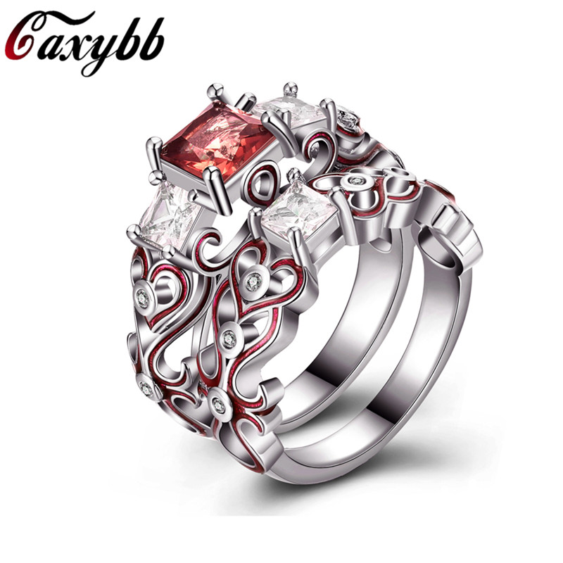 New Silver Plated Square Crystal Engagement/Wedings Rings for Women Enamel Birthday Stone Couple Gift Ring Jewelry Dropshipping ...