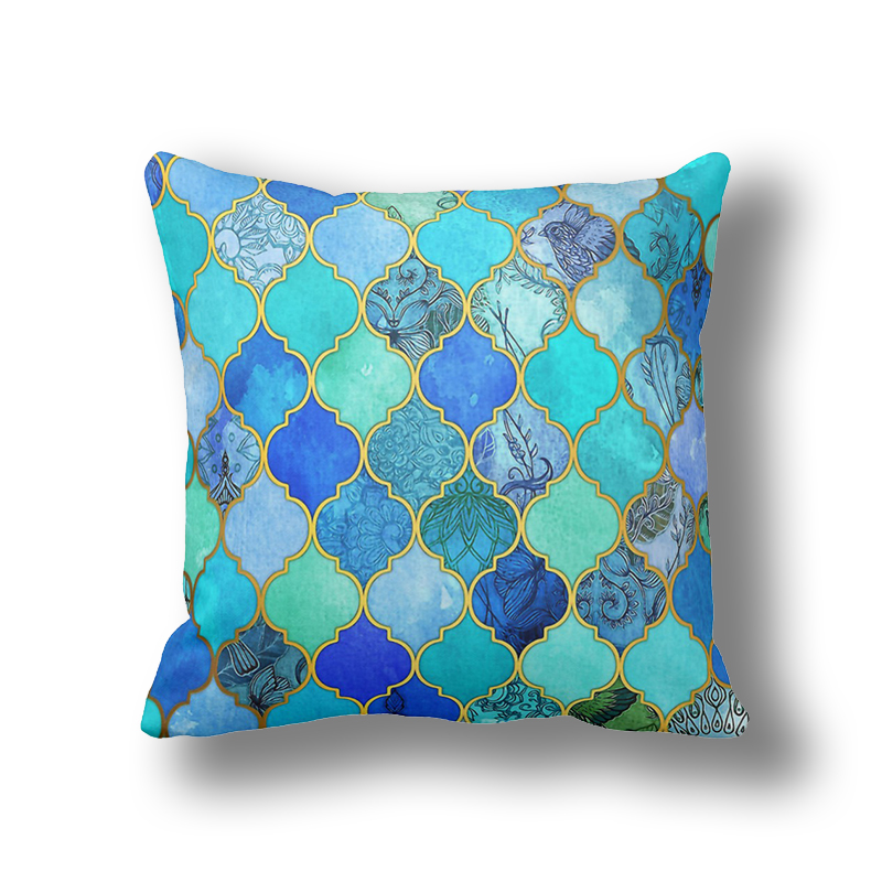 Throw Covers Sofa Barbie Ikathome Royal Blue/turquoise Green/mint Morocco Pillow ...