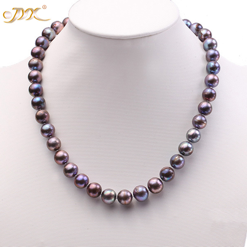 JYX 11-12mm Round Black Freshwater Cultured Pearl Necklace and Bracelet Set