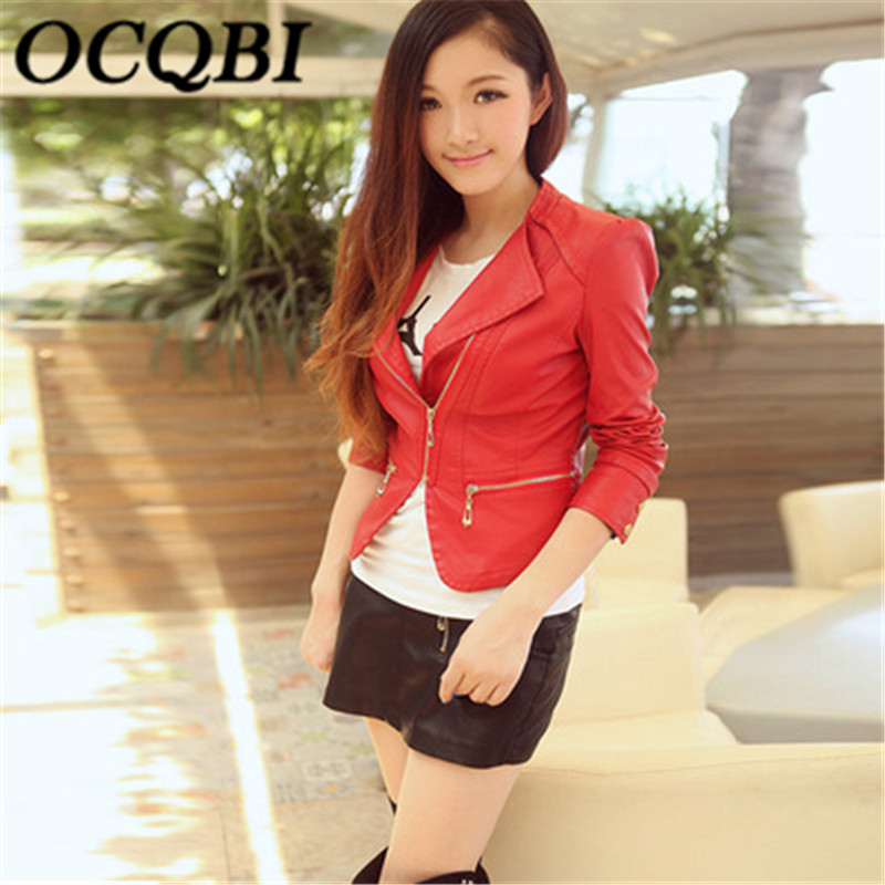 2018 Solid Red Bombers Jacket PU Leather Motor Korean Coat Short Section Slim Coat New Style Fashion Leather Youth Ladies