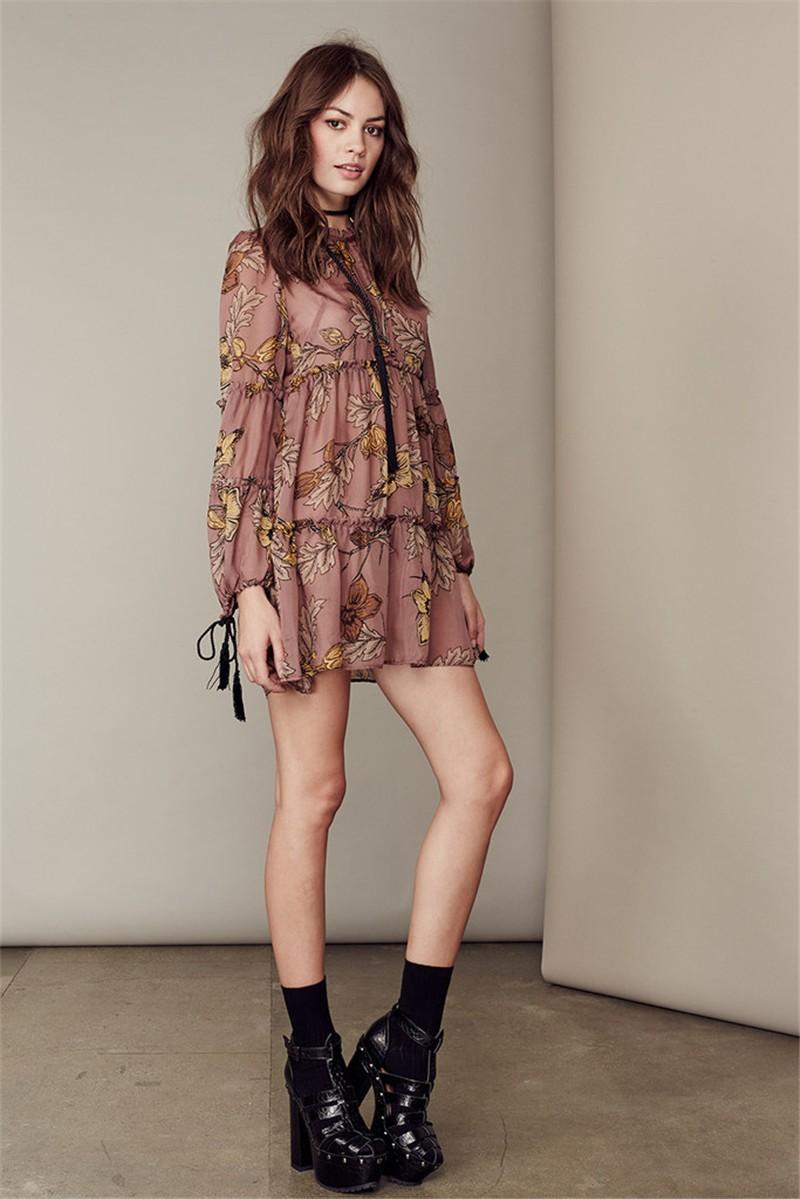 women dress Autumn winter long sleeve ruffle chiffon dress Vintage loose short dress Boho floral print tassel vestidos 8
