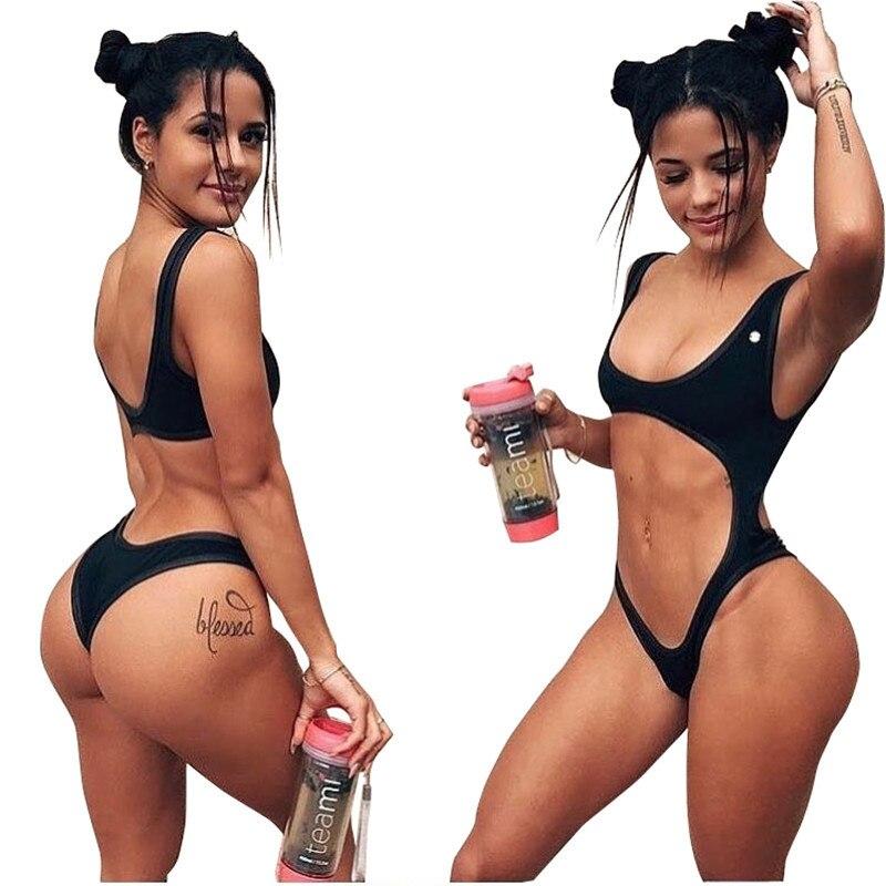 2018 New Women One piece Solid Swimwear Side -tie Swimsuit Hollow Out Bathingsuit Monokini Big Hole in Waist Bikinis