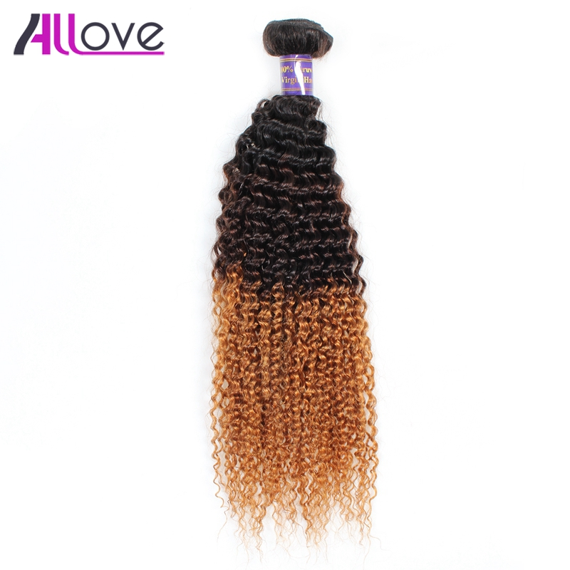Allove 3 Tone Ombre Peruvian Hair Bundles Kinky Curly Weave Human Hair Extensions 1Pc 10-28inch T1B/4/30 Remy Hair No Shedding