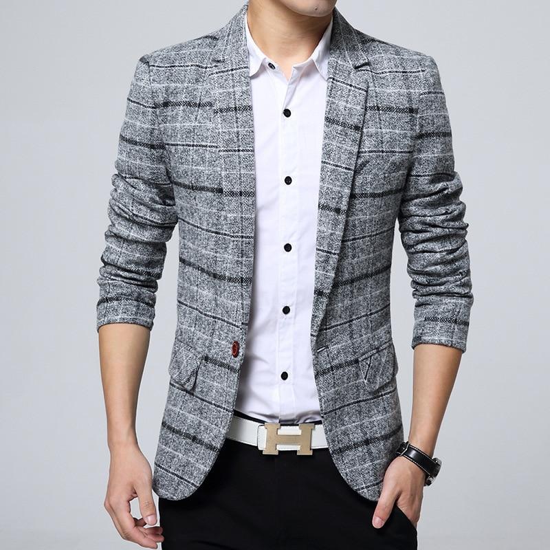 Men's Casual Suit Jacket Korean Version Slim Suit Dropshipping Hot Sale Top Coat Business Long Sleeves Button Cotton Blazers
