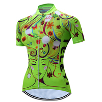 TELEYI Women Bike Team Top Cycling Jersey Ciclismo Mtb Outdoor Bicycle Green Red Female Face Clothing