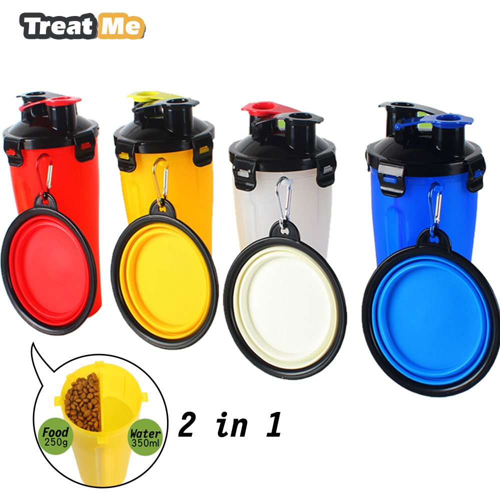 Pet 400ml Portable Filter Travel Cups Drinking Bowls Dog: Dog Feeder 2 In 1 Water And Food Outdoor Dog Water Bottle
