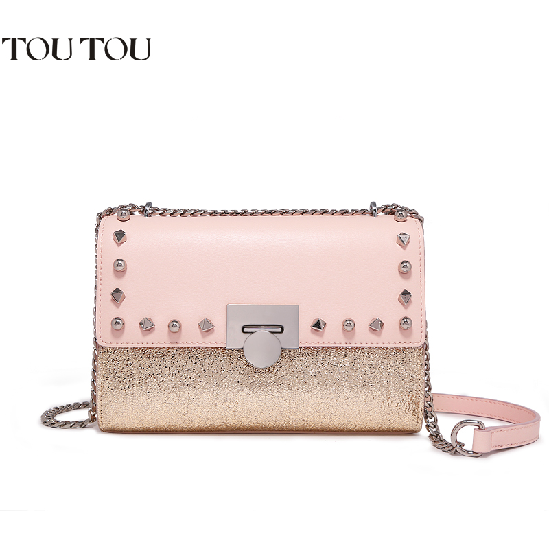 TOUTOU women bag In 2018 the new sequins splicing rivet small party bag contracted joker fashion chain bag single shoulder bag wholetide 10 marriage gauze bag bag joker bag silver rose