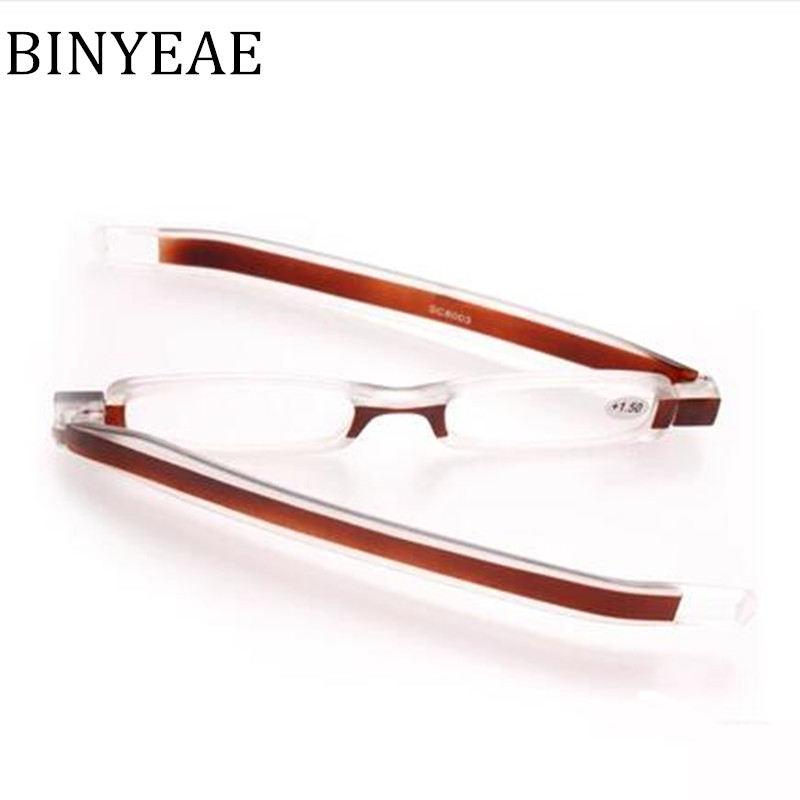 BINYEAE 2018 New Mini Portable folding Reading Glasses foldable Podreader 360 Rotating glasses Pod readers Compact Reader