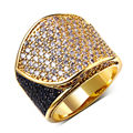 (Elegant Jewellery)  Gold Plated Ladies Fashion RingsTop Quality Black & White Cubic Zircon Pave Setting Copper Ring No Lead