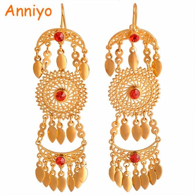 Anniyo Dubai Traditional Earrings For Women With Red Stone Arab African Iraqi Earring