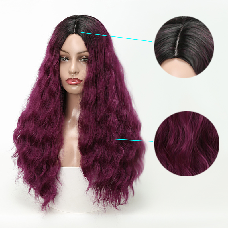 LISI HAIR Black Ombre Wine red Wig Long Wavy Wigs High Temperature Fiber Synthetic Wig For Women Black