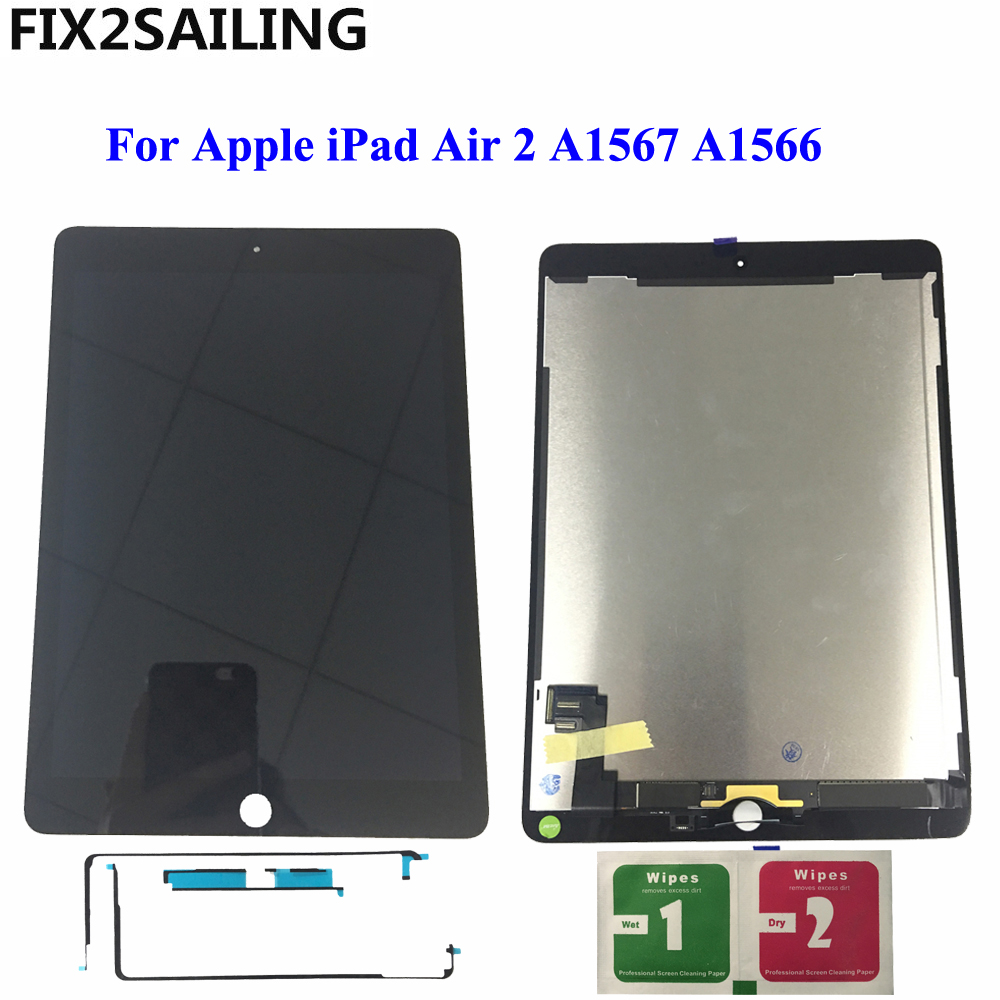 "9.7"" LCD For Apple iPad 6 Air 2 A1567 A1566 9.7'' 100% AAA+ Grade LCD Display Touch Screen Digitizer Assembly Replacement(China)"
