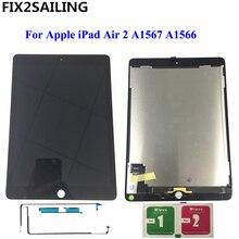 9,7 «ЖК-дисплей для Apple iPad 6 Air 2 A1567 A1566 9,7» 100% AAA + Класс ЖК-дисплей Дисплей Сенсорный экран планшета Ассамблеи Замена