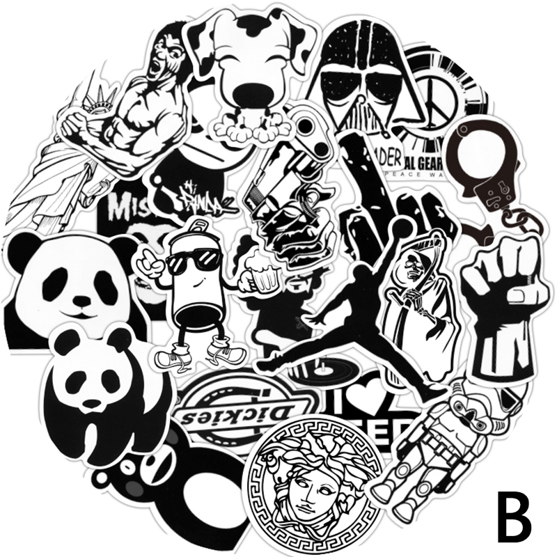 60pcs lot mixed Hot sale Black and white toy styling laptop stickers for motorcycle skateboard doodle