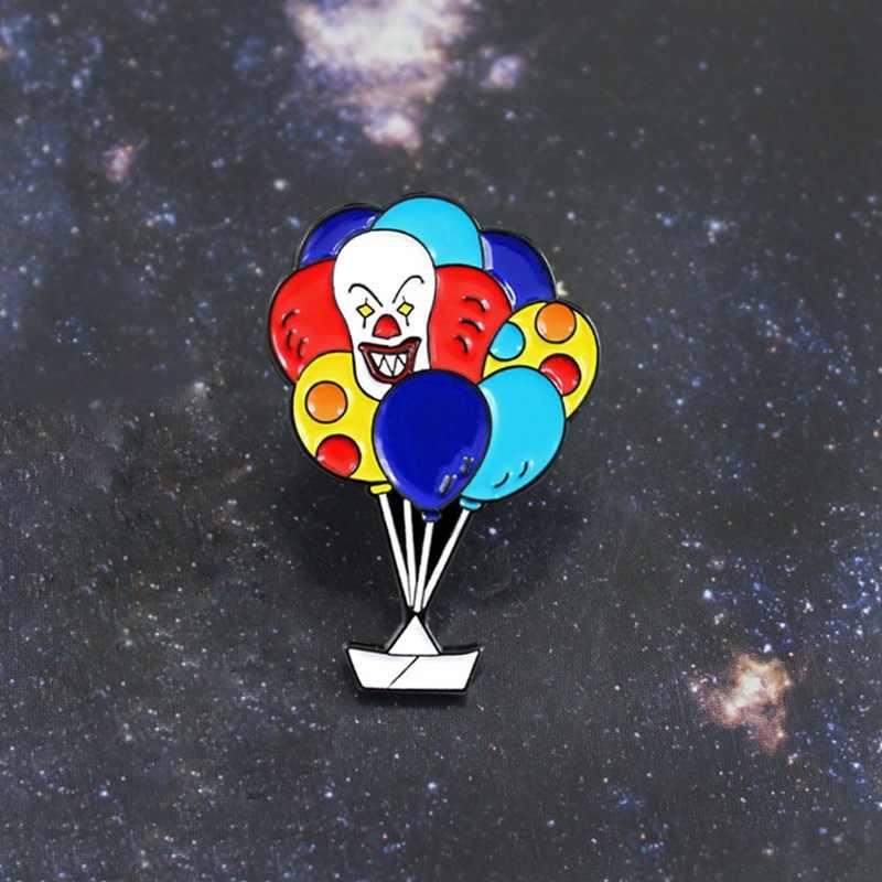 شخصية جديد لعوب السيرك الرعب المهرج بالون بروش قوس قزح اللون بالون المهرج دبوس إبرة الظهر الجلود شارة
