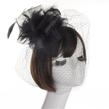 Bridal Headdress Hair for Women wedding accessories Party Hat Headdress bridal Feather Mesh Net Headdress(China)