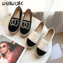 Women Flat Casual Shoes Fashion Lady Hemp Espadrilles Women Loafers For Spring Autumn Moccasins String Pearls Lady Boat Shoes
