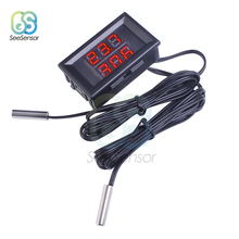 Mini DC 4-28V Red+Red Dual Display Digital Thermometer with NTC Waterproof Metal Probe Temperature Sensor Tester Car Room Indoor