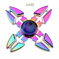 Tri-Spinner Fidget Toys Metal Fidget Spinner Rainbow Hand Spinner Crabs Rotating Metal Four Corners Anti-stress Spiner Spinners
