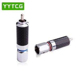 Image 3 - YYTCG 2PCS Audiophile Eutectic คาร์บอนไฟเบอร์โรเดียมชุบลำโพง RCA ชายปลั๊กสายไฟ Splice Audio Jack