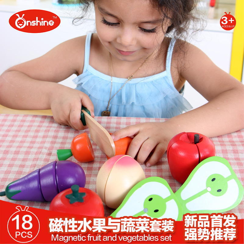 ONSHINE 18pcs/set Wooden simulation fruit vegetables magnetic cutting tomato carrot eggplant pear peach apple toys for children ...