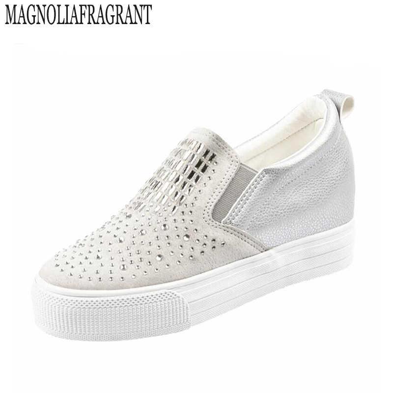 2017 new rhinestone giày cho phụ nữ cưới pha lê bling nền tảng phẳng mùa đông mùa hè mùa thu cao dày thương hiệu giày zapatos mujer