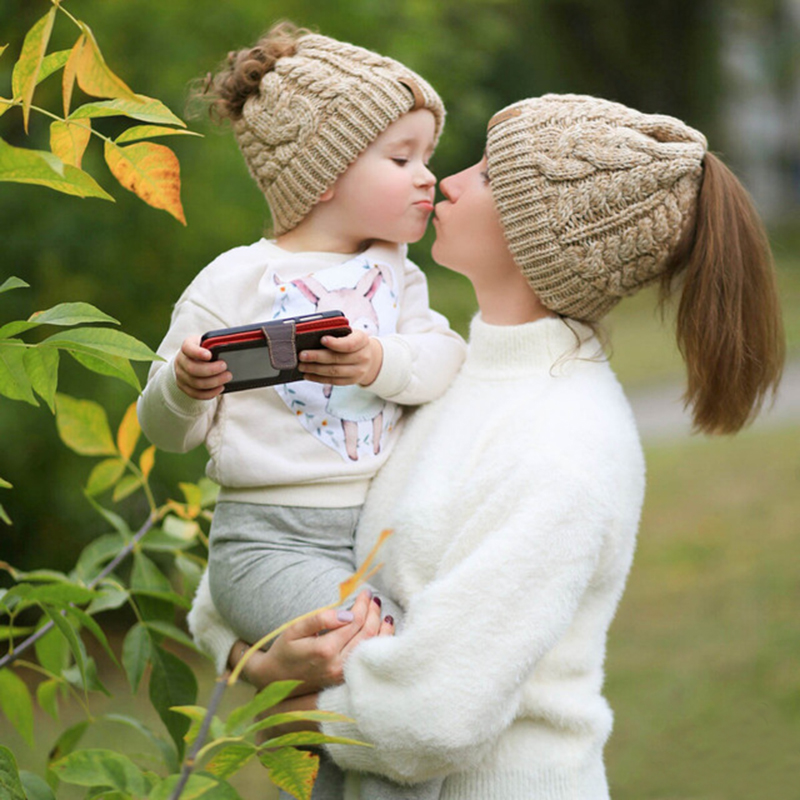 FURTALK Drop Shipping Kitted Ponytail Beanie Winter Women Hat for Girls Skullies Beanies Caps Female Knit Warm Stylish Hat AD014