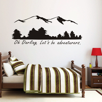 Oh Darling Let S Be Adventurers Wall Stickers Mountain And Forest Home Decor Muursticker Vinyl Stickers