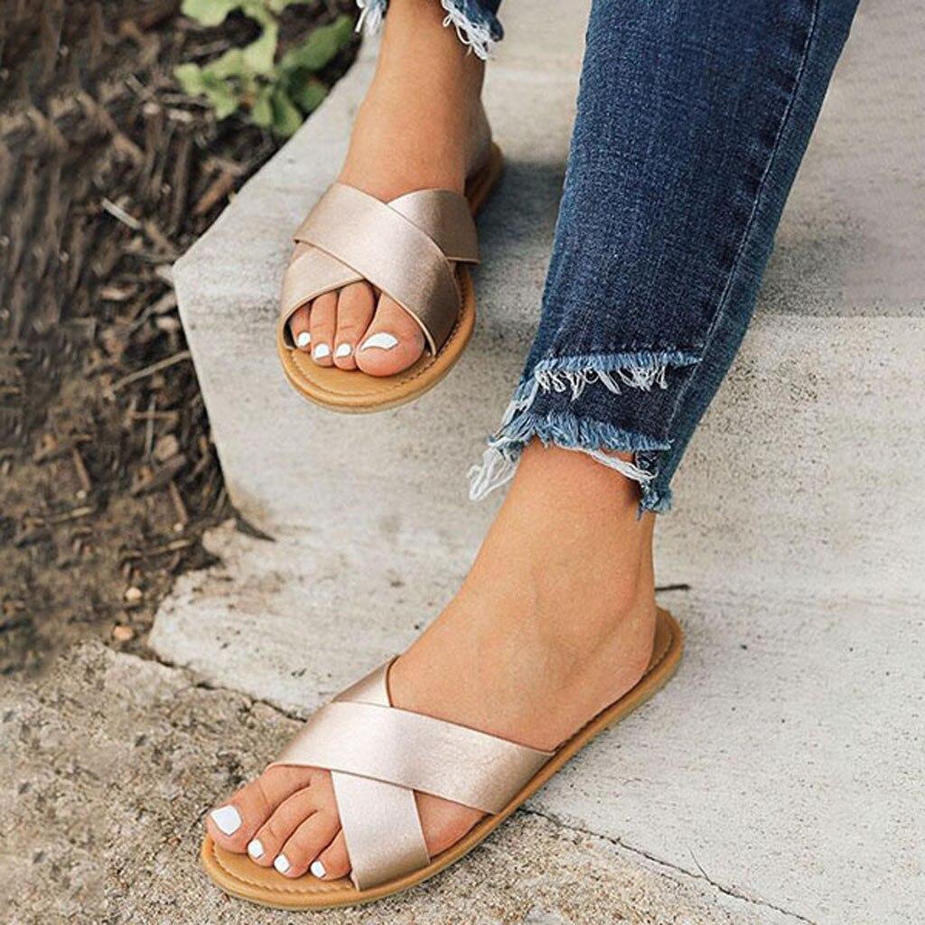 MUQGEW Beach Sandals Slippers Cross-Belt Roman Shoes Classic Reflection Flat Summer Women's