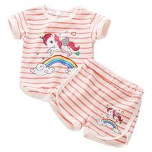 2019 Girls Pajamas kids cartoon unicorn short  sleeve clothes set cute girl Striped pyjamas