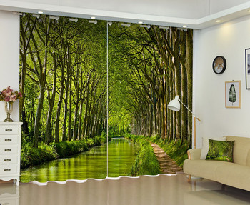 3D Photo Of A River Passes Through A Woods Window Curtain