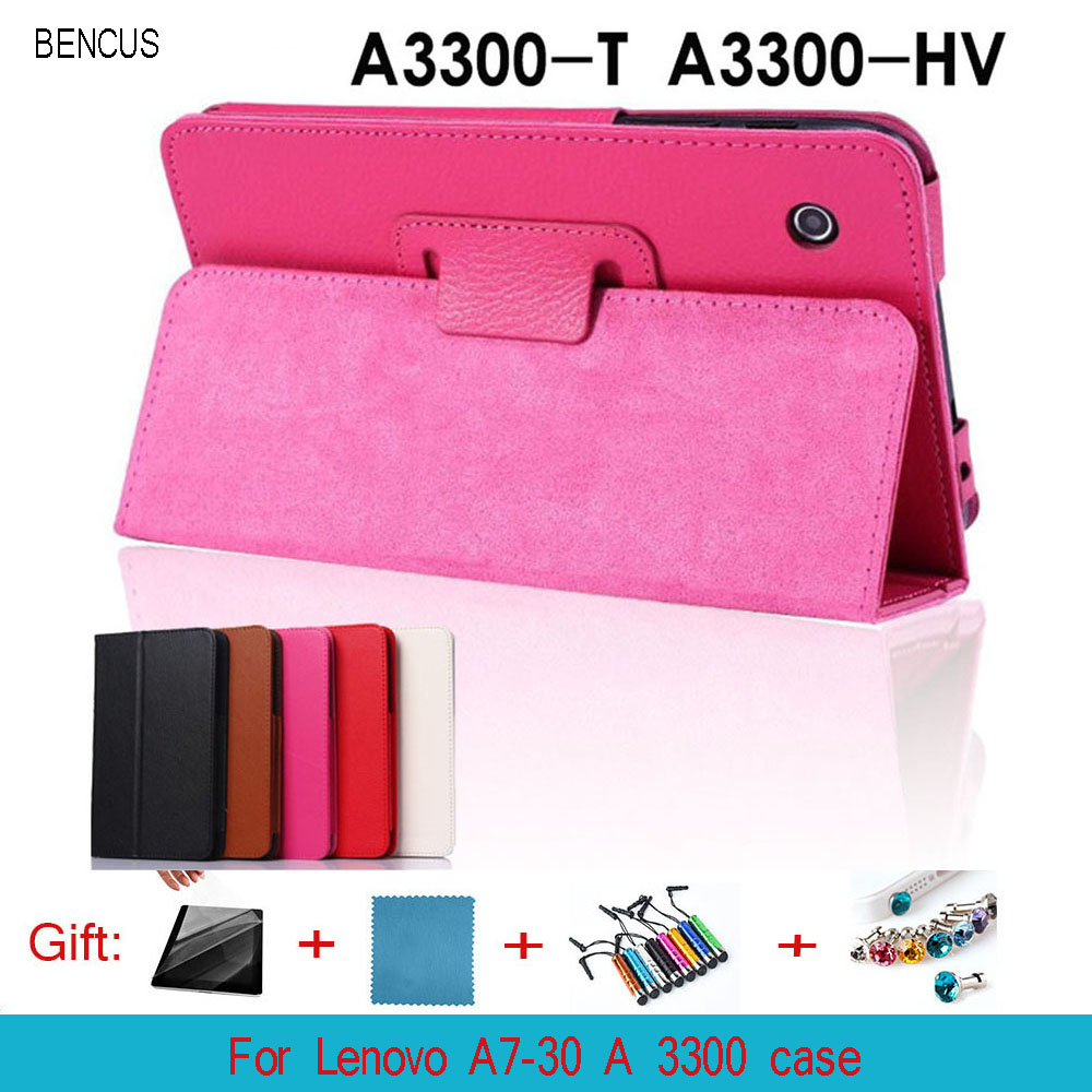 BENCUS Del Magnetic Folio Leather Cover Case Holder For Lenovo A7-30 A3300 7 Inch Tablet