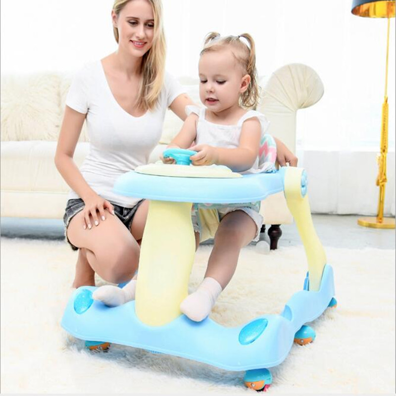 2018 New Infant Baby Foldable Walker Girl Early Educational Kids Toddler Baby Trolley Walker Baby Balance First Steps Car Toys цены онлайн